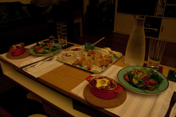 Cheese, bread, salad, fine salt, flamenco eggs, and our new glasses and water pitcher!