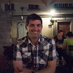 Wade at dinner: In Ljubljana's old town