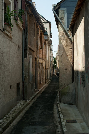 Old city street: Below the chteau of Amboise, towering over the city of the same name, in the Loire Valley, France. Amboise was a favorite of the old Orleans branch of the Bourbon monarchy of France.