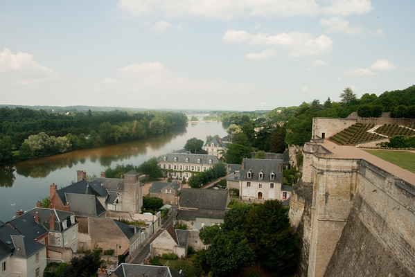 The town, from above: At the château of Amboise, towering over the city of the same name, in the Loire Valley, France. Amboise was a favorite of the old Orleans branch of the Bourbon monarchy of France.