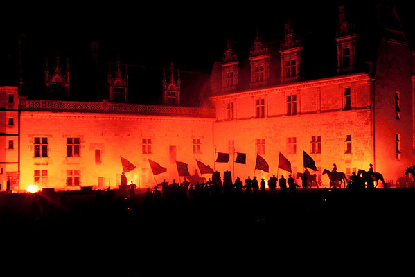 Parade to the château: At the spectacle at the château of Amboise, Loire Valley, France