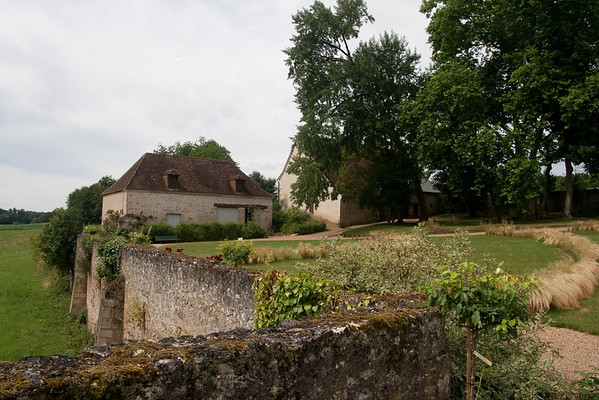 The working houses, from the terrace: At the chateâu of Saché, in the Loire