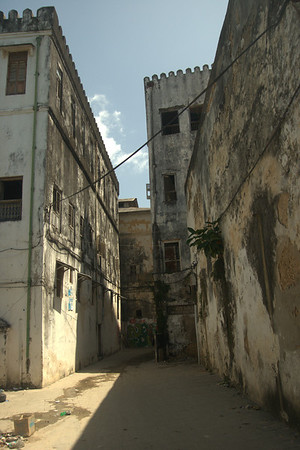 Decay: The poorly-maintained buildings of Stonetown are all covered in this black rot, with stucco chipping away.